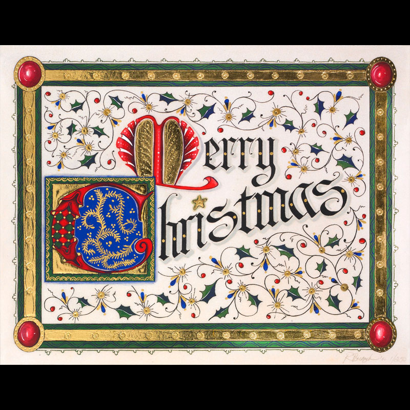 Illuminated Merry Christmas w/23K Gilding