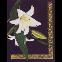 Gilded Lily Greeting Card Hand Painted