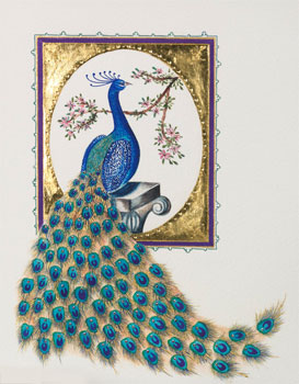 Gilded Peacock Greeting Card with Swarovski Crystals Limited Edition